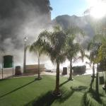Morning steam over pools on a cool morning.