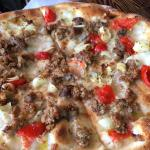 Sausage pizza without tomato sauce