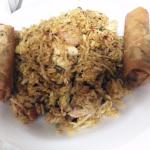 Singapore fried rice and Vietnamese egg rolls