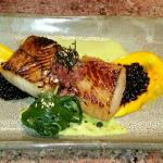 Butterfish with Sweet ZPotato Puree and Wasabi.