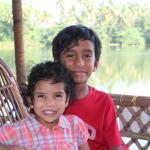 the happy kids enjoying the trip