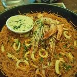 """Our """"paella"""" dish to be shared between two people - without any substantial seafood besides two"""