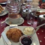 Scones with Clotted Cream and Jam. Delicious!!! Very British.