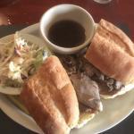 McArdle's Prime Dip sandwich au jus with slaw