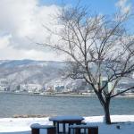 館内から眺めた諏訪湖の雪景色