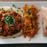 Spicy shawarma platter with carrot salad.