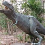 Replica dinosaurs at the car park and interpretive center