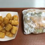 Big burger, small amount of tater tots.