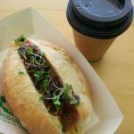 Coffee and hotdog!