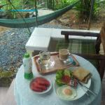 Breakfast in front of the bungallow