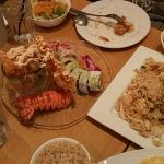 Lobster sushi and fried rice