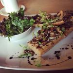 Wild Mushroom Tartine with melted brie and balsamic on toasted whole wheat baguette