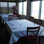 Dining area has great view.