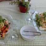 Calamari salad left.......Cornation chicken salad right