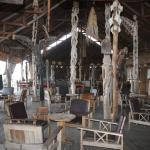The reception/restaurant with an amazing collection of handicrafts from Dani, Asmat people