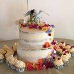 Our beautiful Wedding Cake with our custom made toppers.