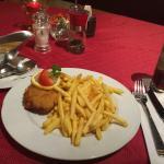 Potatoes cream soup and Corton Bleu