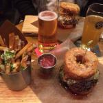 Donut burgers & garlic fires (special menu item, these burgers only available during grand openi