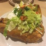 The chimichanga was amazing and the free refills of hot chats were a very welcome surprise!