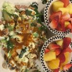 Healthy Scramble with sides of fruit