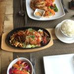 Honey Duck and Butterfly King Prawn Pad Thai main dishes