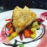 Cod with carrots with beet reduction