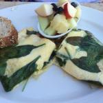 Spinach omelet -- wife said it was good