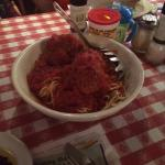 Spaghetti and huge meatballs