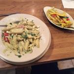 Greek pasta and sautéed squash