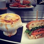 French onion soup & Salmon Burger