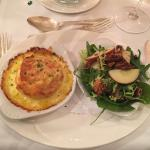 Delicious goats cheese soufflé with apple and walnut salad