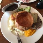 Lovely Sunday roast and delicious dessert. Will be going back for sure.