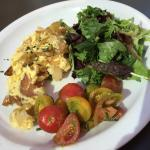 Farm Scramble (Roasted Yukon Gold potatoes scrambled with fresh eggs, herbs, onions, gruyere)