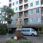 Statue in front of hotel