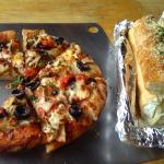 Lunch Pizza with Garlic Bread