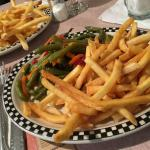 Fries and fresh vegetables