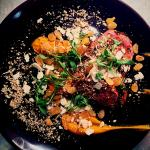 Harissa beef rump, sweet potato, cashews, sultanas