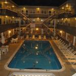 Our sparkling heated pool at night