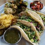 Taco plate with spaghetti squash and brussel sprouts.