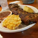 Full Rack of Baby backs with Mac and Cheese, baked beans, and cornbread