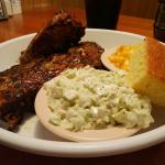Half Rack of Baby backs with Mac and Cheese, coleslaw, and cornbread