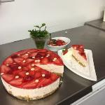 Homemade White Chocolate and Strawberry Cheesecake