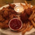 Fried Shrimp with awesome hush puppies & fries.
