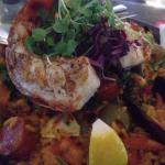 Seafood paella with lobster tail and the cheese platter!!