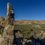 Trying to climb to top of Aiguille de Joshua Tree (aka The Finger of Hercules)