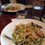 Shrimp fettuccine with pesto sauce
