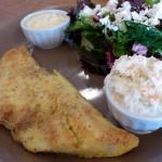 Cornflour-breaded fish and beet salad