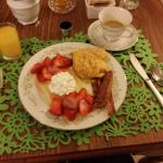 Strawberry Crepes, Fancy Egg Scramble, and Brown Sugar Peppercorn Bacon - Yum!!