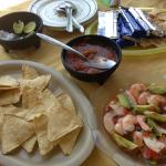 Camarones with chips and salsa. Fresh and delicious. Served with limes.