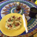 Bacon pear pancake and coffee outside!